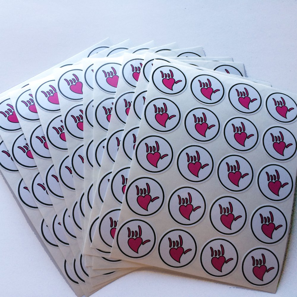 American Sign Language ASL ''I Love You'' ILY Heart Hand Stickers (200/package)