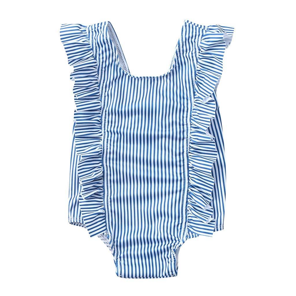 Vovotrade Toddler Girl One-Piece Bikini Beach Swimsuit Ruffles Striped Bathing Suit(Blue,2T)