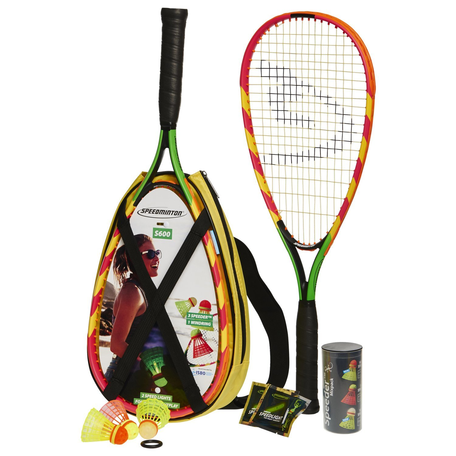 Speedminton S600 Set - Original Speed ​​Badminton / Crossminton Starter Set including 2 rackets, 3 Speeder, Speedlights, Bag