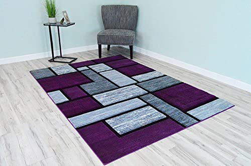 Premium 3D Hand Carved Thick Modern Contemporary Abstract Rug Design 3995 Purple Grey 7'9''x10'8''