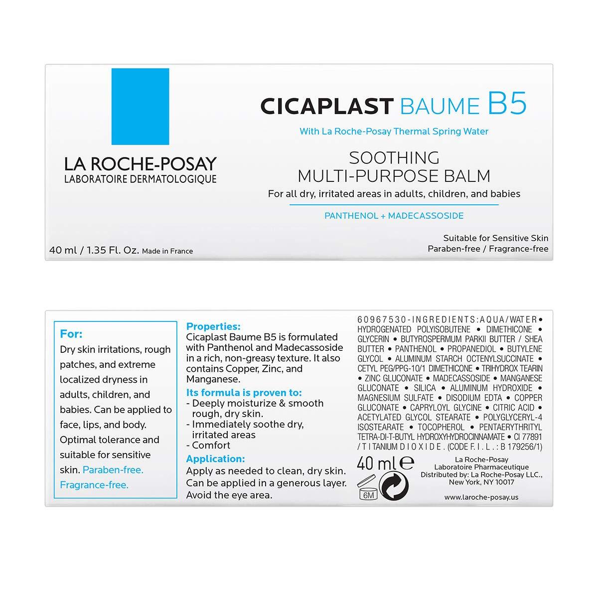 La Roche-Posay Cicaplast Baume B5 Balm, Soothing Repairing Multi Purpose Balm for Dry & Irritated Skin, Body & Hand Cream, Fragrance Free: Premium Beauty