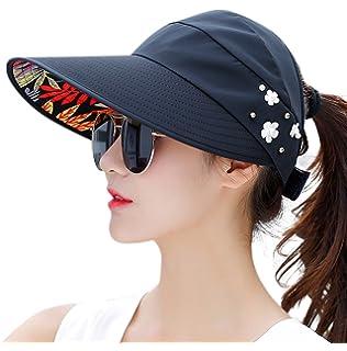 HINDAWI Sun Hats for Women Wide Brim Sun Hat UV Protection Caps Floppy  Beach Packable Visor c8ca03c22962