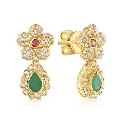 ebdb52d46 Malabar Women's 22K (916) Gold Uncut Diamond, Ruby and emerald era Dangle  earrings