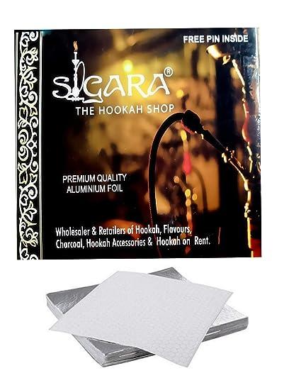 SIGARA-The Hookah Shop- Silver Hookah Foil Papers/Aluminium Foil for  Hookah/Shisha 50Pc  (Free Foil Pin Inside)