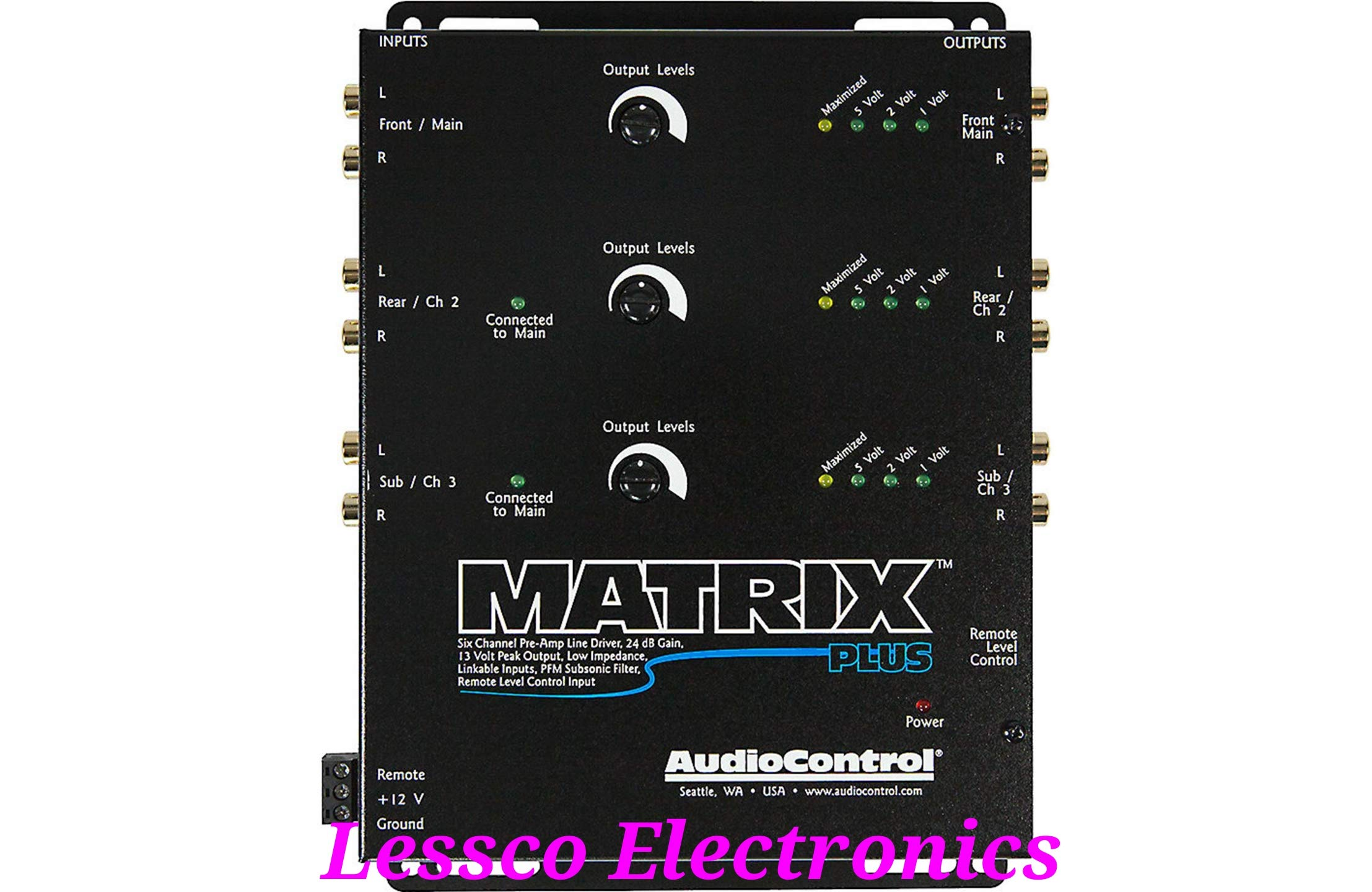 AudioControl Matrix Plus Black Six Channel Line Driver with Remote Level Control Input by AudioControl