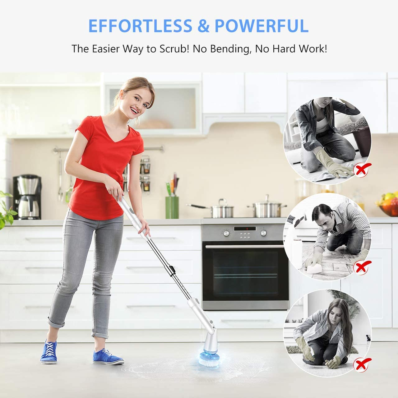 Homitt Electric Spin Scrubber with Rechargeable Battery, 360 Power Tile Scrubber with 4 Multi-Purpose Replaceable Shower Scrubber Brush Heads, 1 Extension Arm for Bathroom, Tub, Floor: Home & Kitchen