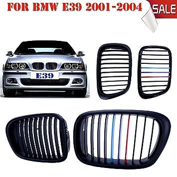 Jade Negro Mate frontal riñón rejillas Grill para BMW E39 525 528 530 535 M5 1997 - 2003: Amazon.es: Coche y moto