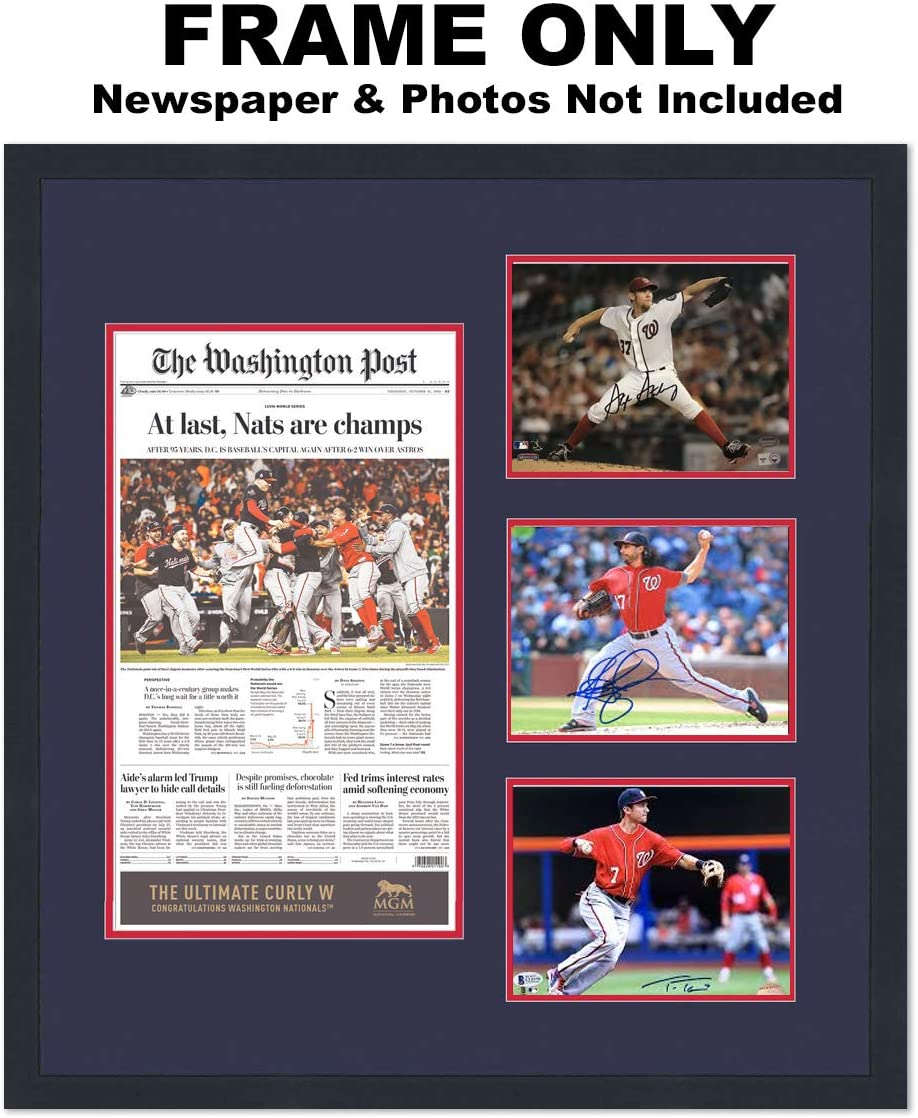Great for Autographs 8x10 Collage Photo Frame with Washington Nationals Colors Double Mat for Eight 8x10 Photos