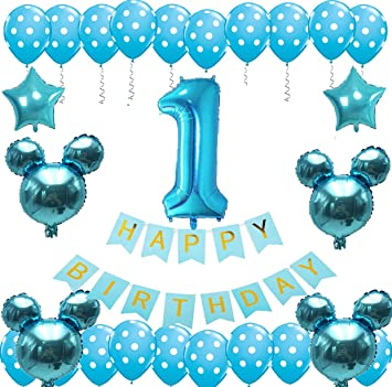 Amazon Com Baby Boy 1st Birthday Decorations And Photo Banner 0 12 Month First Birthday Crown Cake Topper One Happy Birthday Balloons Banner Number 1 Foil Balloon Blue And White Balloons Party Decorations Toys