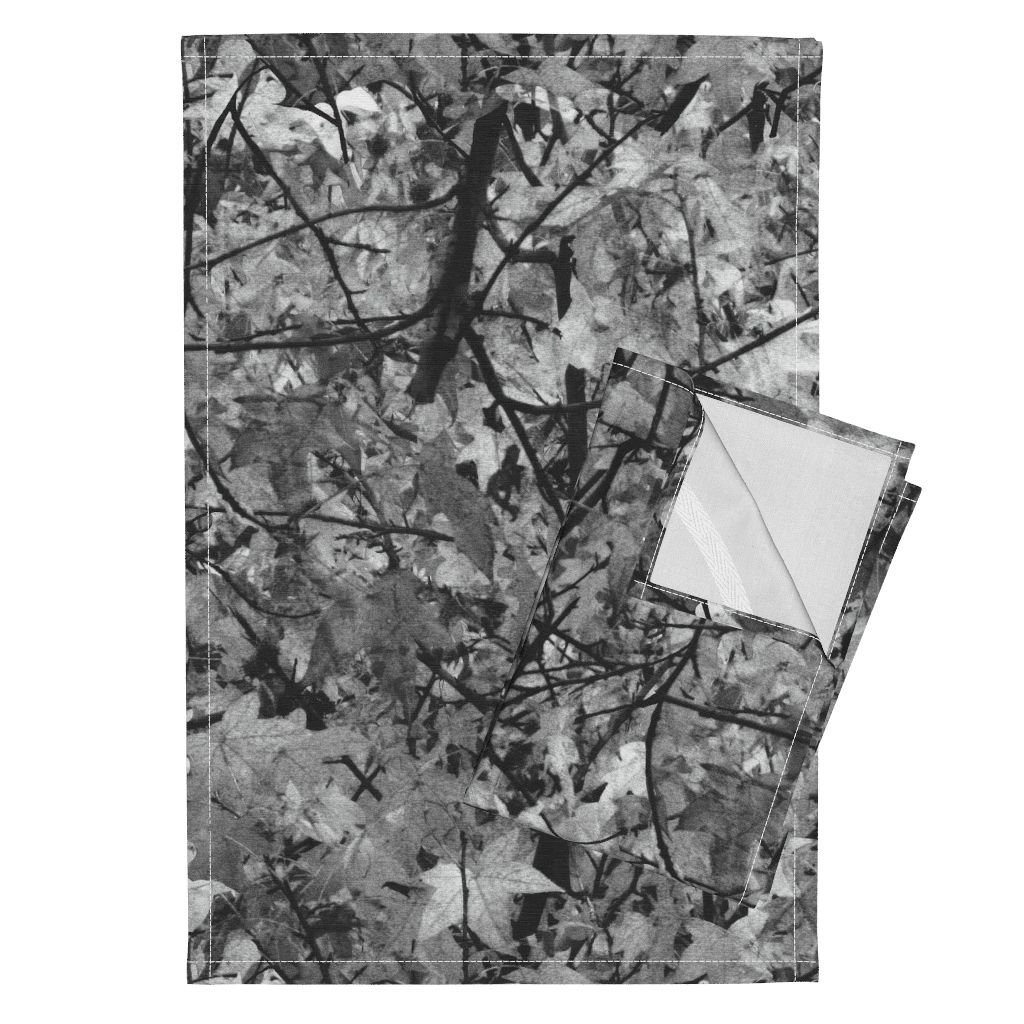 Roostery Trees Leaves Nature Photographic Camouflage Woods Black and White Tea Towels The Wild Wood ~ Black and by Peacoquettedesigns Set of 2 Linen Cotton Tea Towels