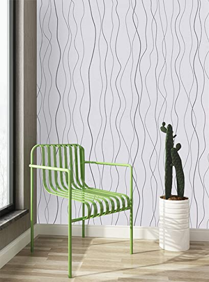 197 X17 7 White Peel And Stick Wallpaper Silver Modern Embossed Stripe Contact Paper Self Adhesive Removable Wave Wallpaper Thicken Perfectly Covers The Surface Not See Through Wall Covering Film Amazon Com