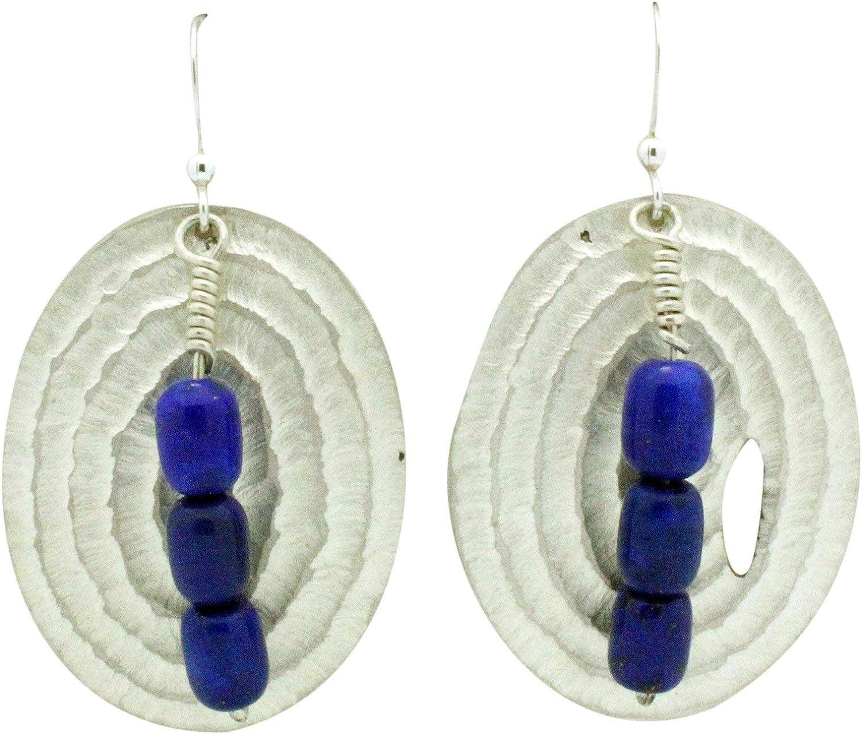 Navajo Handmade Sterling Silver Lapis French Hook Earrings