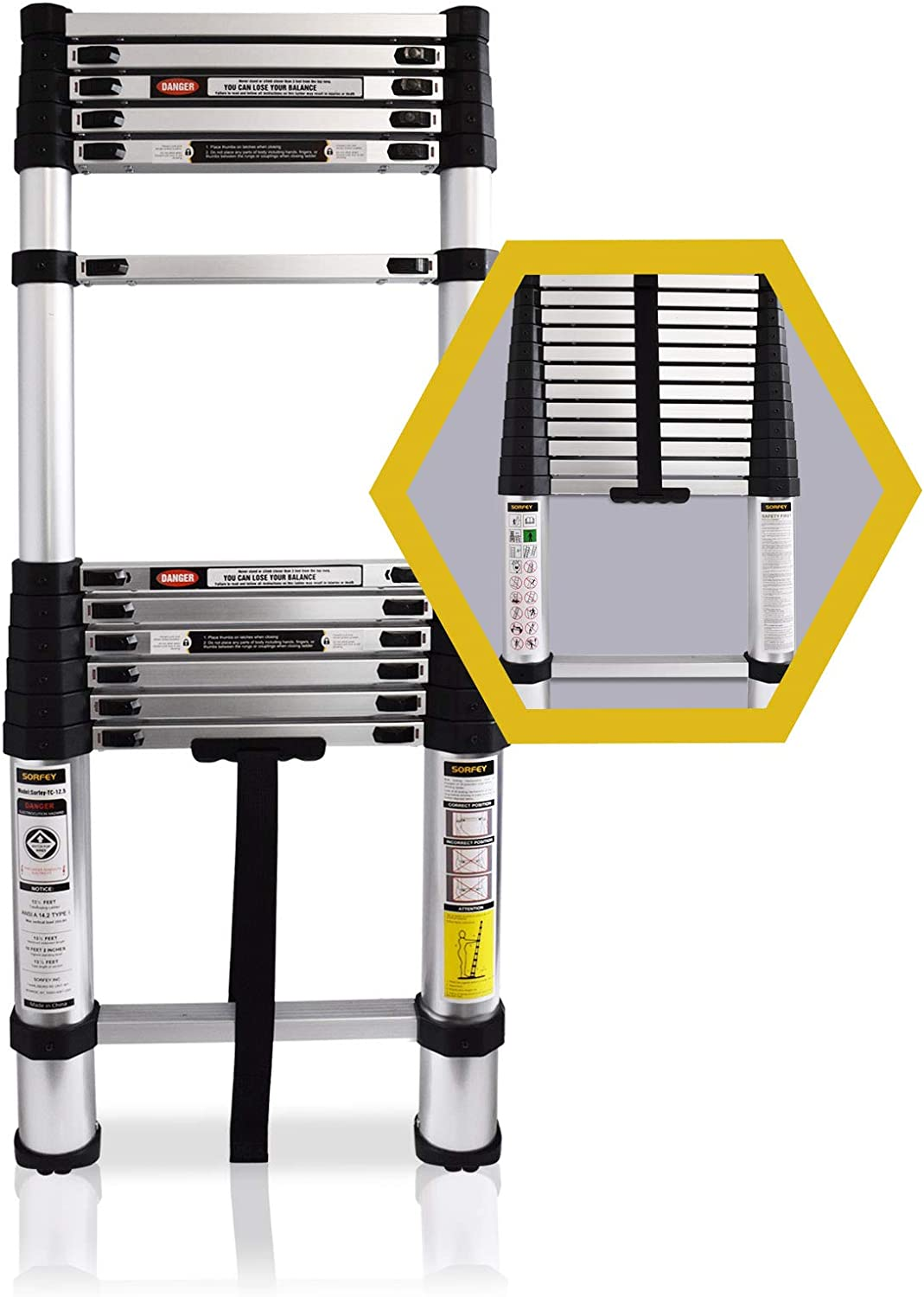 Sorfey Premium 12.5 ft Aluminum Telescopic Lightweight Multipurpose Extendable Ladder with 1 Button Spring Loaded Safety Locking Mechanism, Great for Hobbies, DIY Projects – 330 Pound Capacity - -