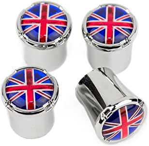 Union Jack Shiny Chrome Superior Quality Dust Valve Caps