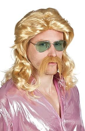 Boland - Peluca rubia larga con bigote rubio Barry, 85724