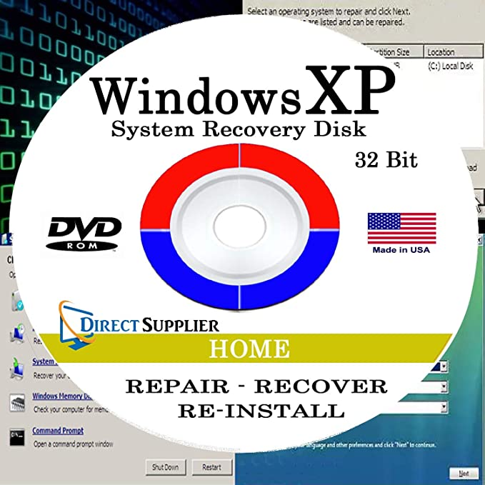 Direct Supplier - Compatible with WIN XP - 32 Bit DVD, Supports HOME  edition  Recover, Repair, Restore or Re-install to Factory Fresh!