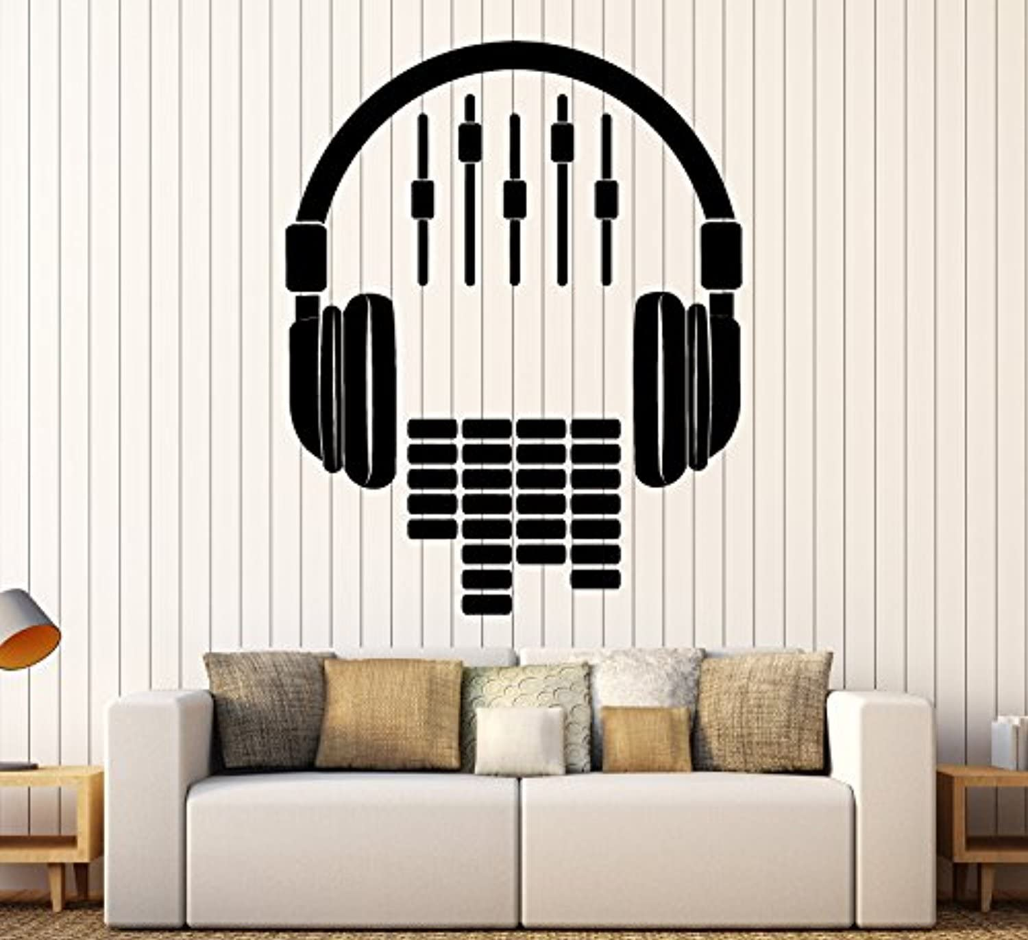 Art of Decals Amazing Home Decor-Large Vinyl Wall Decal Headphones Sound DJ Music Musical Stickers Large Decor 441 Made in The USA Removable