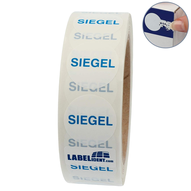 /Ø 30 mm Dokumentenfolie 1000 Etiketten auf Rolle Labelident Siegeletiketten PE Siegel wei/ß permanent haftend