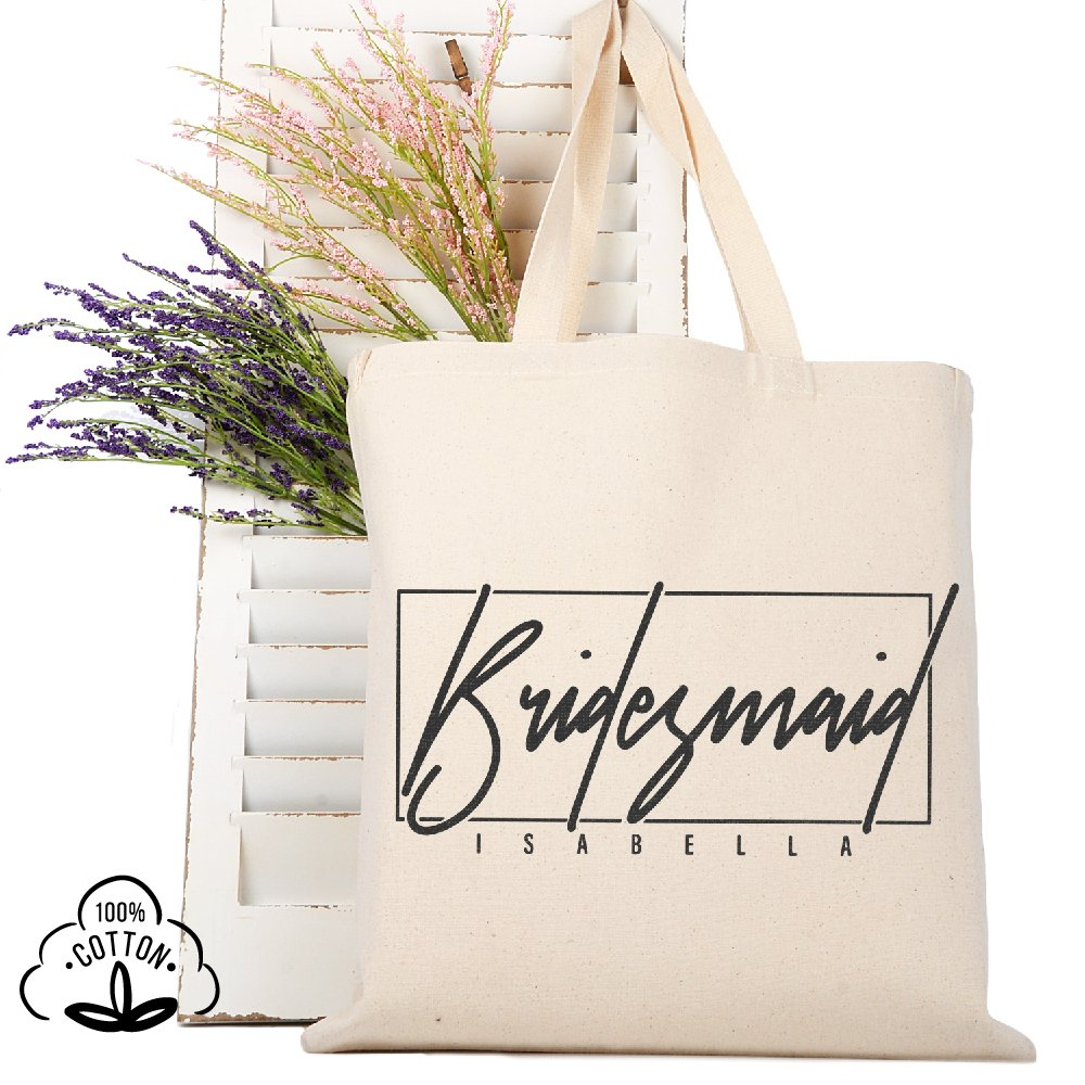 Personalized Tote Bag Natural Cotton Wedding Bridal Party | DSG#5 | set of 6
