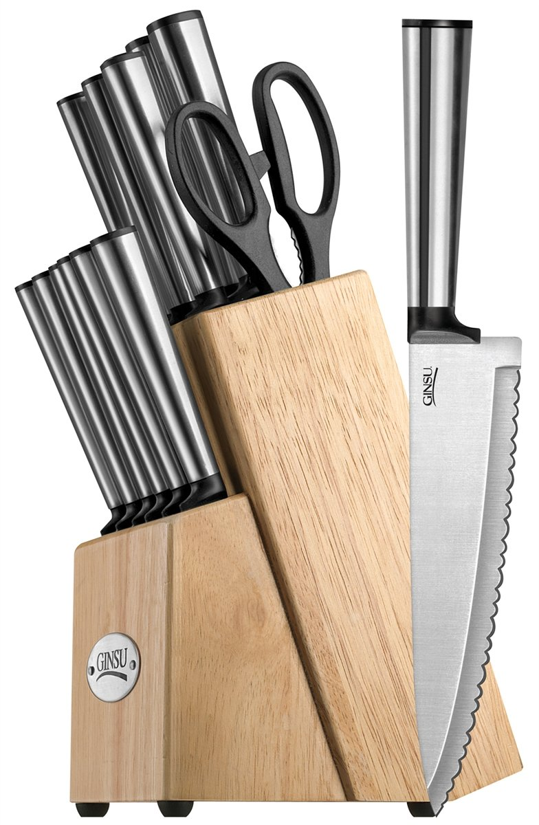 Ginsu 05284ds 14 Piece KodenシリーズCutlery Set in Naturalブロック、ステンレススチール B01LY2V5DC