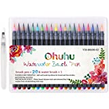 Watercolor Brush Pens, Ohuhu 20 Colors Water Color Painting Markers W/ A Water Coloring Brush, Watercolor Paints Soft Flexible Tip for Adult Coloring Books, Manga, Comic, Calligraphy