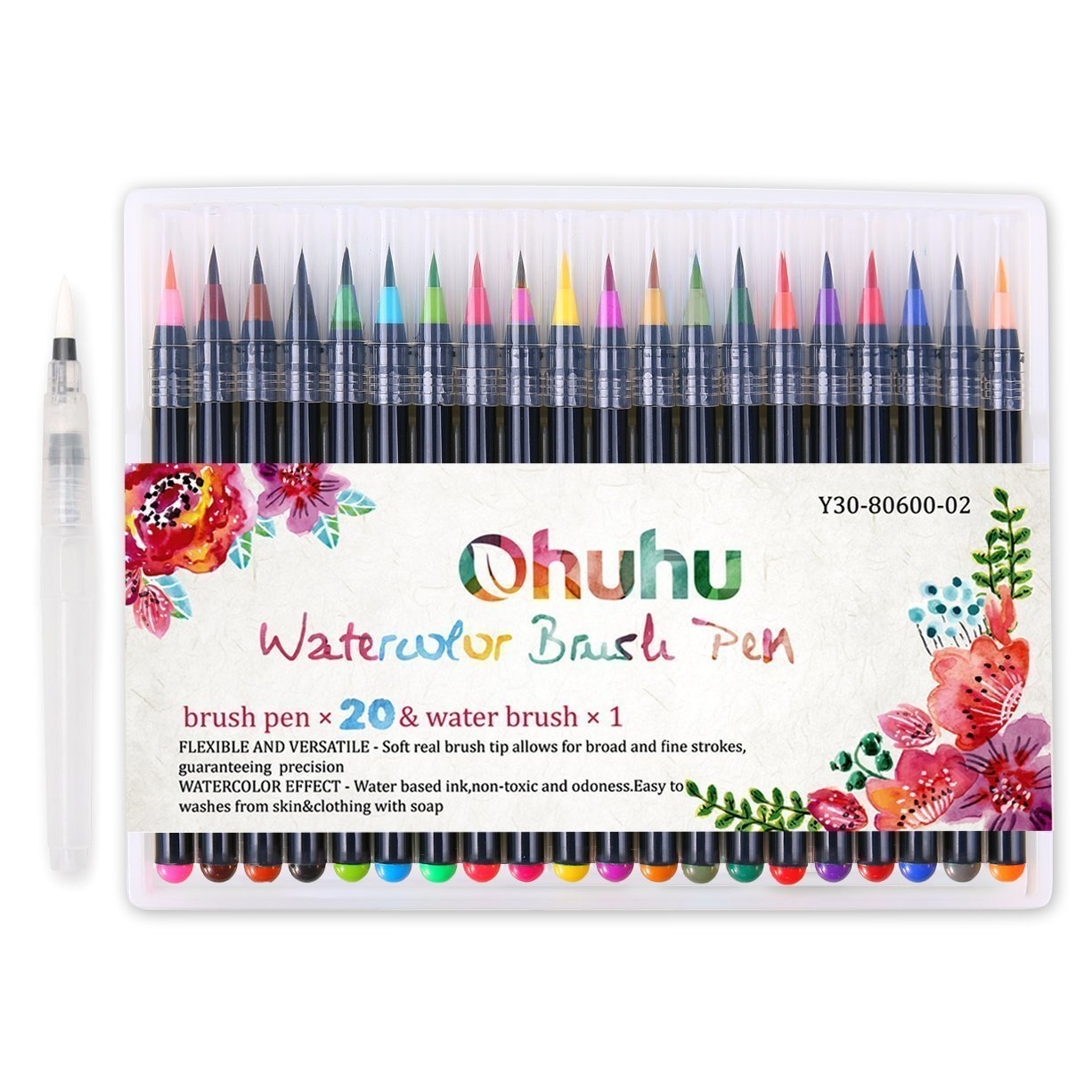 Watercolor Brush Markers Pen, Ohuhu 20 Colors Water Based Drawing Marker Brushes W/A Water Coloring Brush, Water Colored Ink W/Soft Flexible Tip for Adult Coloring Books, Manga, Comic, Calligraphy Y30-80600-16