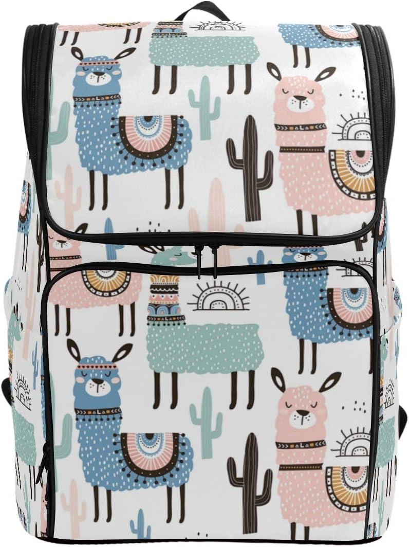 Naanle Cute Cartoon Llama Cactus Pattern Casual Daypack College Multipurpose Backpack Large Travel Hiking Bag for Men Women,Waterproof Computer Bag