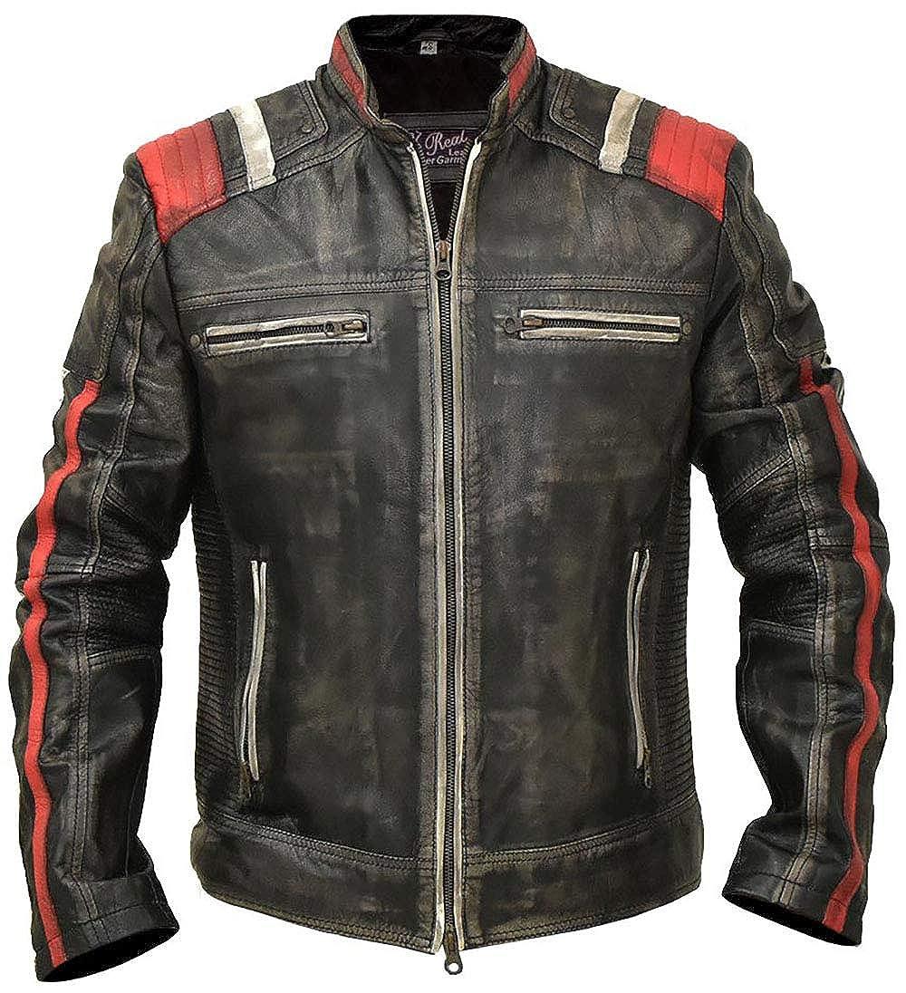 Moto Leather Jacket Men Cafe Racer Vintage Retro Distressed Biker Black Cowhide Leather Jacket