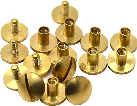 Solid Brass Screw Flat Head Button 4 6 8 10mm Stud Nail Chicago Screwback Belts