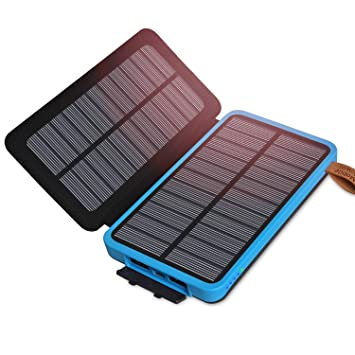 ADDTOP Cargador solar 10000mAh Impermeable Power Bank
