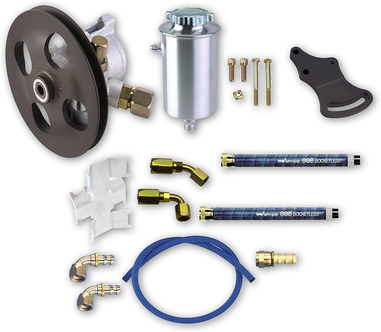 Complete Power Steering Pump Kit Pump//Mounts//Tank//Lines//Fittings