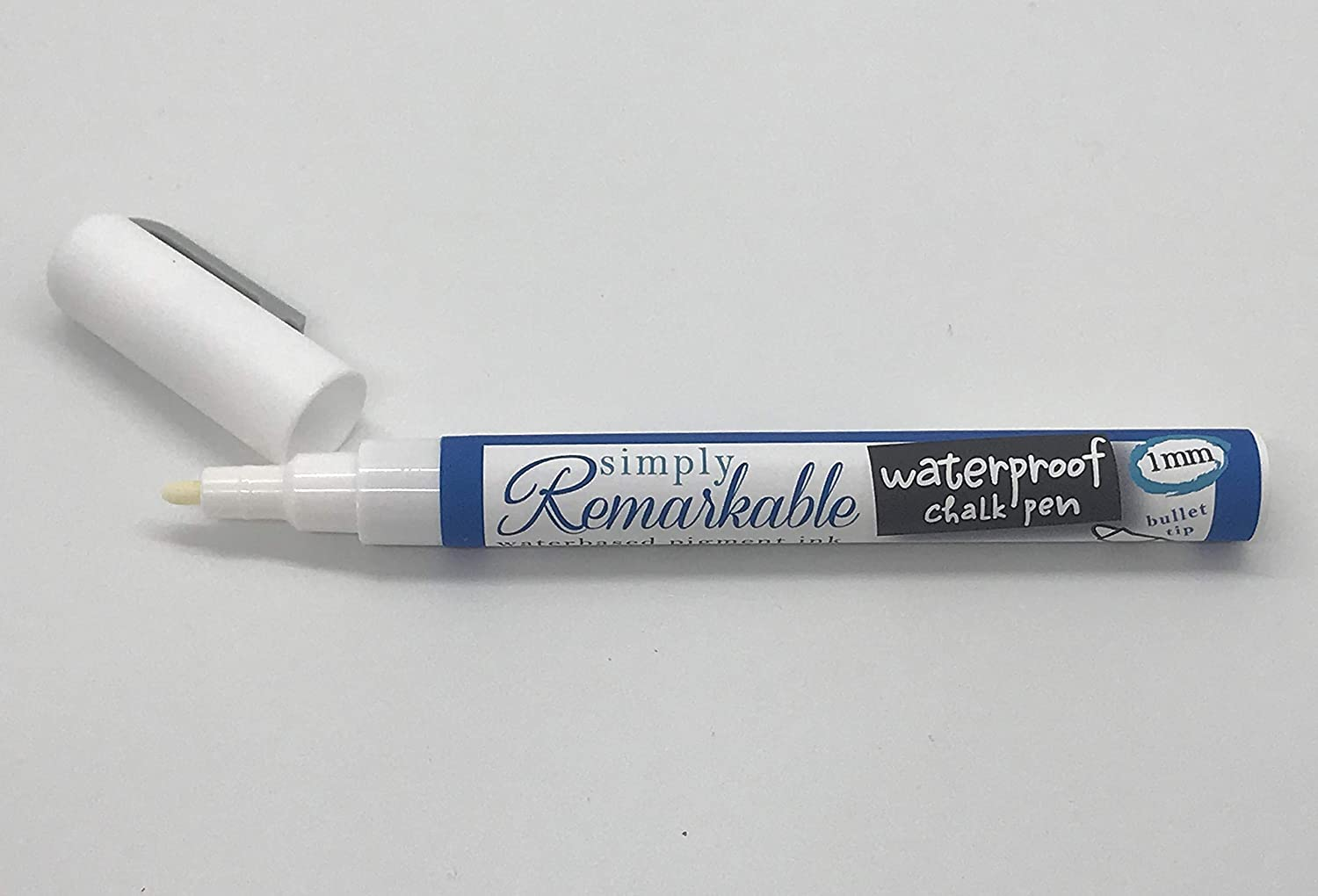 Simply Remarkable Waterproof Chalk Pen to Write or Draw Custom Labels, Tags and More, White Liquid Chalk Marker, 1mm Fine Tip