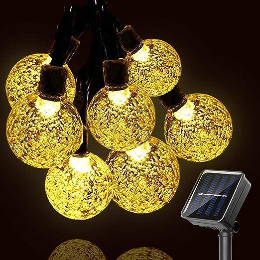 No/ël Blanc Chaud Maison F/ête Patio Mariage Terrasse Guirlande Lumineuse Solaire 7M 50 LED Exterieur Lampe IP65 Imperm/éable Int/érieur Exterieu avec 8 Modes Lampe Solaire D/écorative pour Jardin