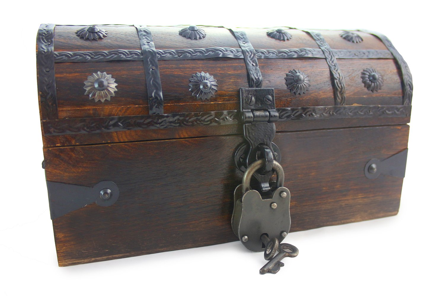 "Well Pack Box Wooden Pirate Treasure Chest Box 11"" x 7"" x 7"" Anne Bonnie Model Authentic Antique Style With Black Hasp Latch Includes Master Padlock & Vintage Skeleton Keys"