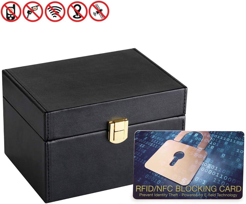 Caja de Bloqueo de señal Negra para Llaves de Coche, teléfono, Llaves, Faraday, sin Llave, Caja de Almacenamiento de Seguridad para Evitar robos con 1 Tarjeta de Bloqueo de señal RFID/NFC (Gift):