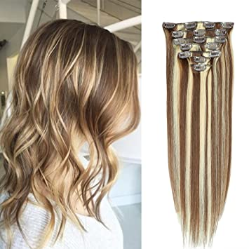 Clips Cheveux Extension Naturel 4/613 Marron Chocolat Meche Blond clair  Balayage 50cm Long 7 Bandes 70g , 100% Remy Humain Hair Double Weft