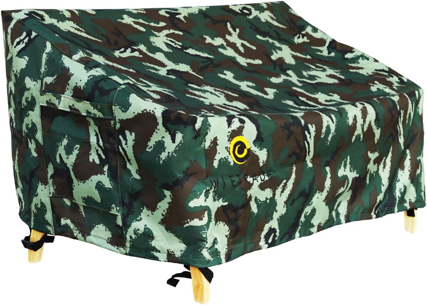 "WJ eTrade Patio Loveseat Covers, Waterproof UV Resistant No Fading Heavy Duty Outdoor 2-Seat Bench Cover, 54"" Wx38 Dx35 H, Camo: Garden & Outdoor"