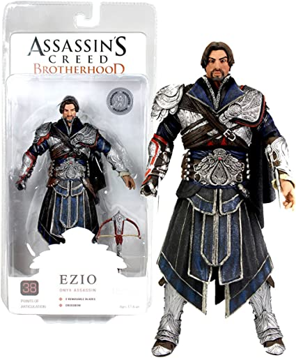 Amazon Com Ubisoft Neca Year 2011 Video Games Series Assassin S Creed Brotherhood Exclusive 7 Inch Tall Action Figure Unhooded Onyx Assassin Ezio With 38 Points Of Articulations Plus Retractable Blade And