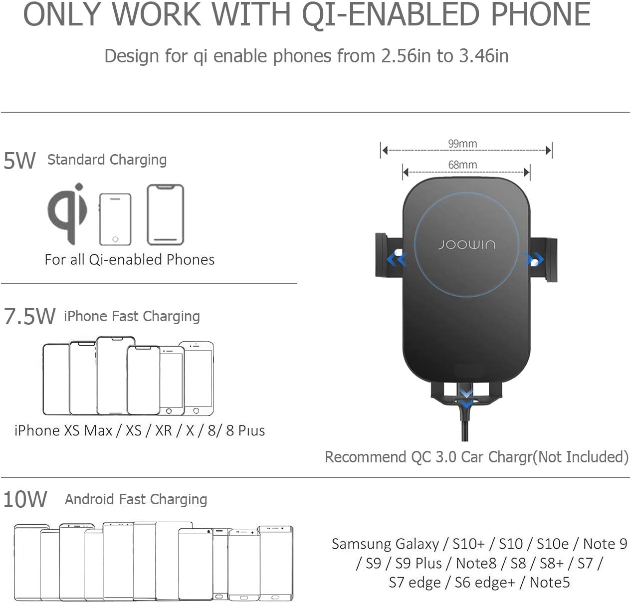 Samsung S10//S10+//S9//S9+//S8//S8+ 10W//7.5W Qi Wireless Fast Charging Auto-Clamping Car Mount Wireless Car Charger Air Vent Phone Holder Compatible with iPhone Xs MAX//XS//XR//X//8//8+ LG//Pixel