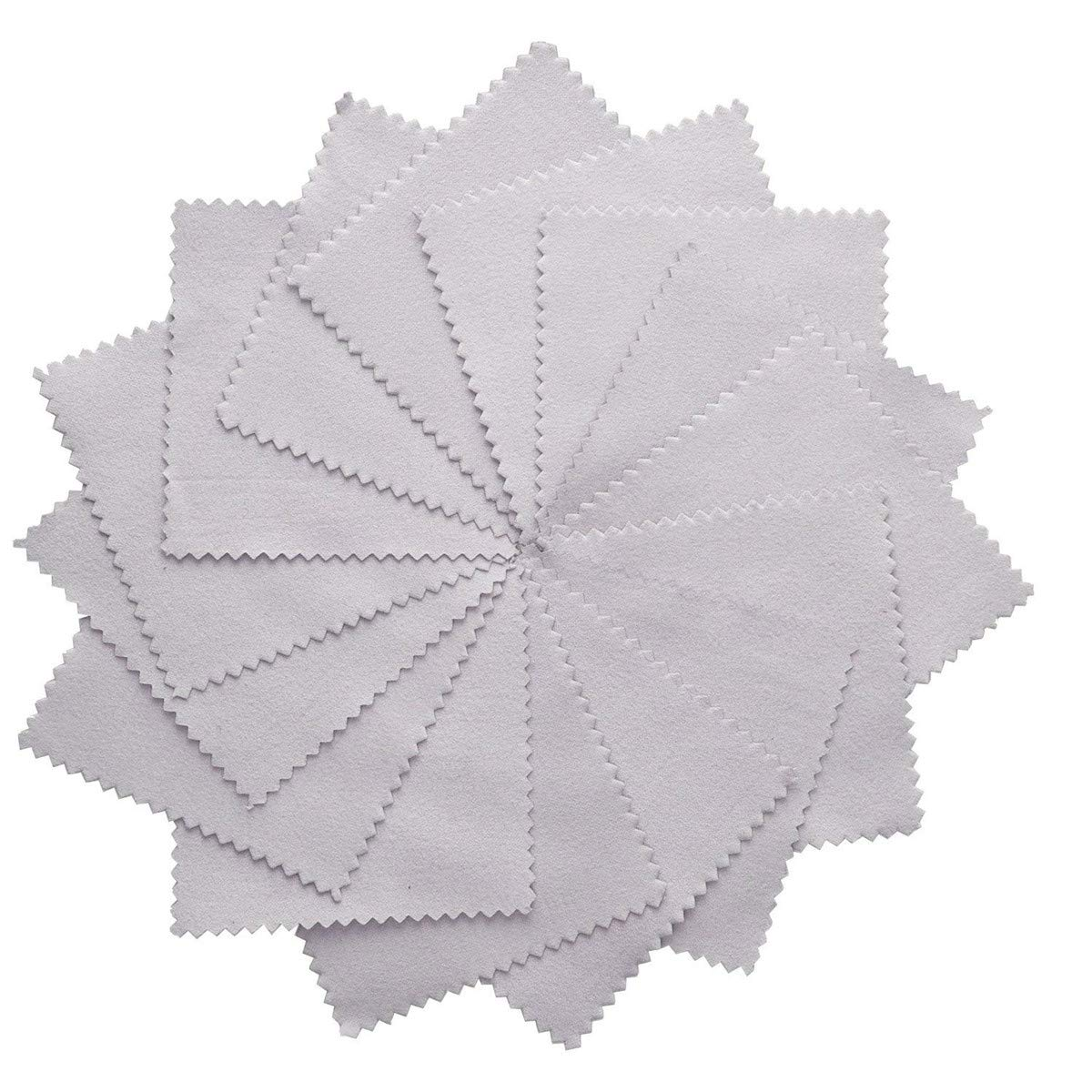 25 pcs Teydhao Grey Jewelry Cleaning Cloth Polishing Cloth Extremely Clean for Sterling Silver Gold Platinum