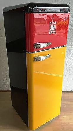 Retro Frigorífico Alemania Negro Rojo Amarillo brillo/BRD/Alemania ...