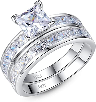 Sterling Silver Ring Clear Round CZ Comfort Fit 925