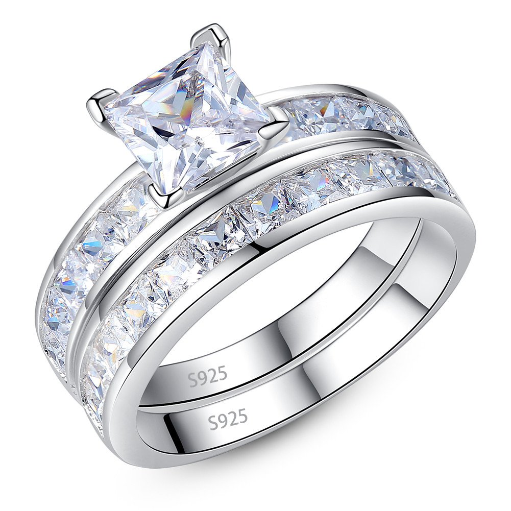 Mabella Sterling Silver Princess CZ Engagement Ring Wedding Band Set Gift Rings for Women
