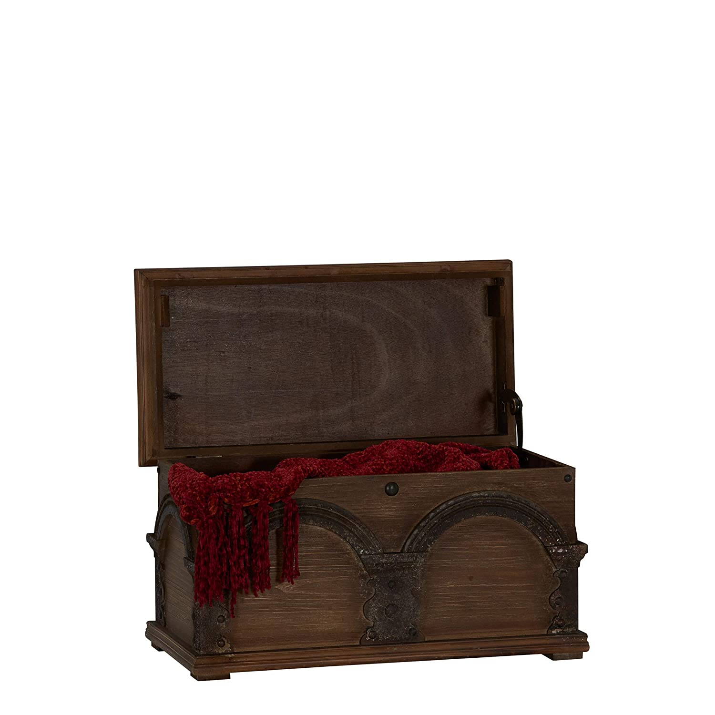 Household Essentials Wooden Arch Trunk Storage Chest, Small