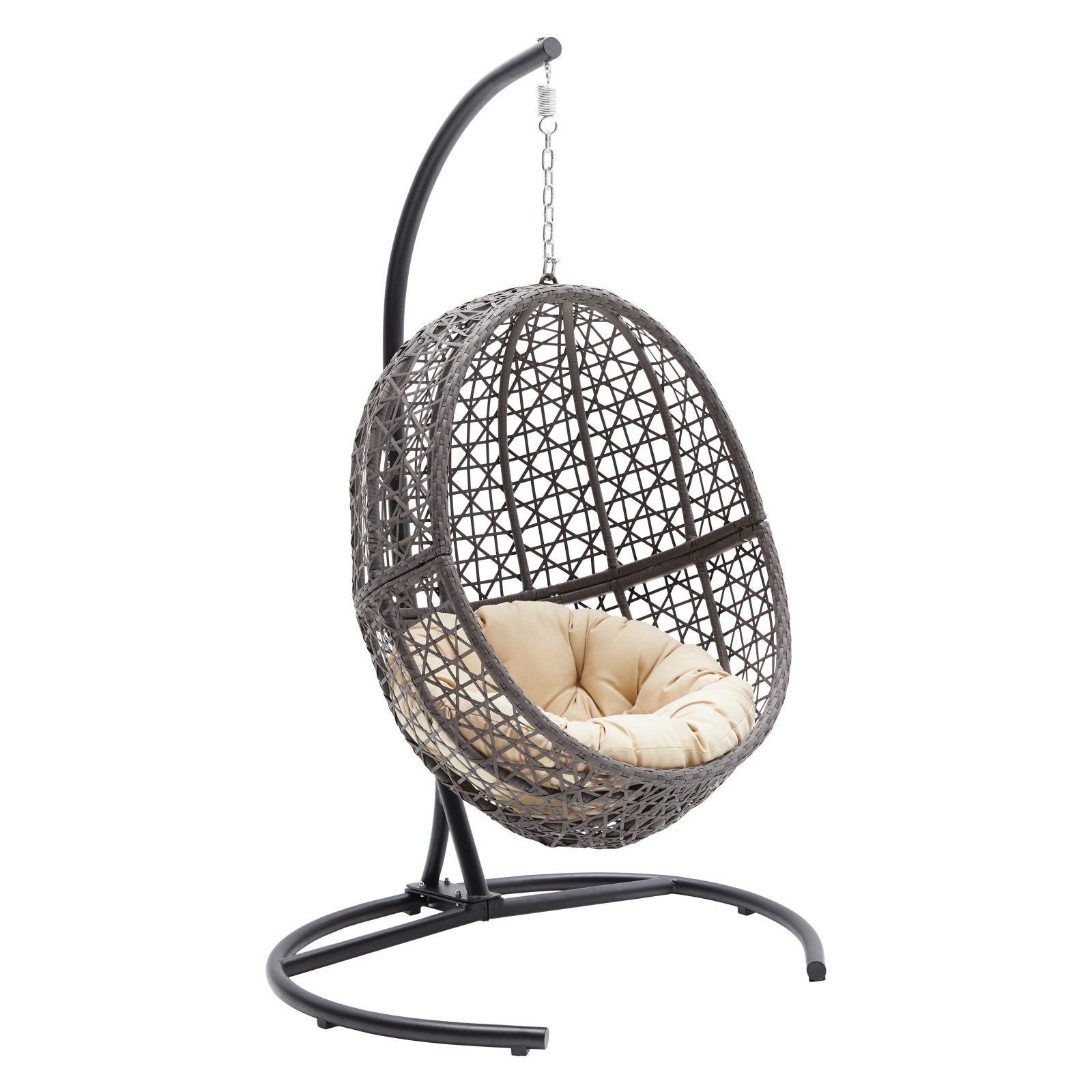 Resin Wicker Hanging Egg Chair Outdoor Patio Furniture with Cushion and Stand, Steel Frame, Espresso by Island Bay