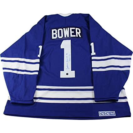 d86bd7ff6 Johnny Bower Signed Toronto Maple Leafs Replica Jersey w  quot HOF 76 quot   Insc