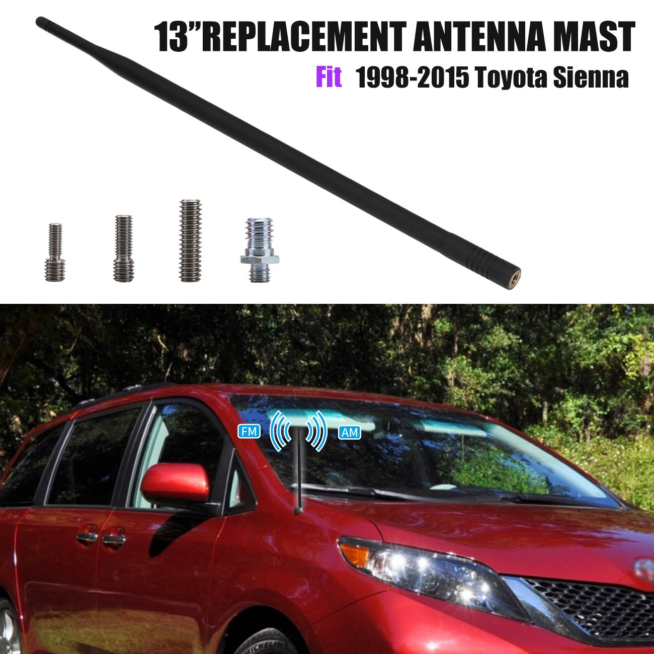 For Toyota Sienna 1998 2015 13 Short Rubber Antenna Audio Wiring Car Replacement Mast Automotive