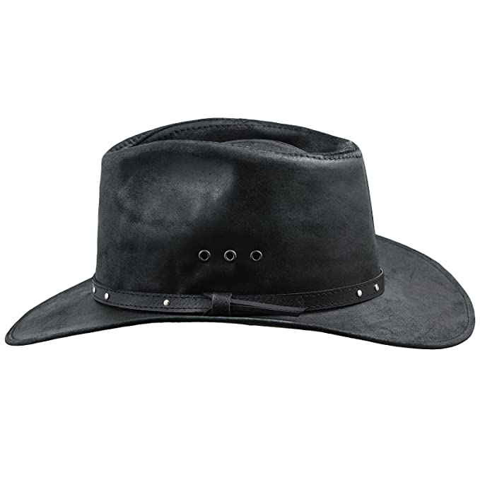 5119e64e53b Sterkowski Cattle Leather Classic Western Cowboy Outback Hat US 6 7 8 Black