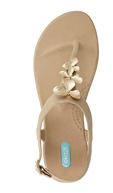 7f771953b746d Gaia Flip Flop Sandal Shoes with Ankle Strap by OkaB Color Chai (6)
