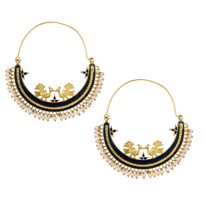 Efulgenz Indian Bollywood 14K Gold Plated Crystal Pearl Half Moon Inspired Big Hoop Dangle Earrings Jewelry